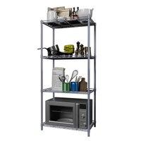 Küche Rack Mikrowelle Rack Floored Metall Regal Möbel 4 Tier Platzsparend Multi funktion Lagerung Rack für Küche|Halter & Gestelle|   -