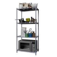 Kitchen Rack Microwave Oven Rack Floored Metal Shelf Furniture 4 Tier Space Saving Multi function Storage Rack for Kitchen