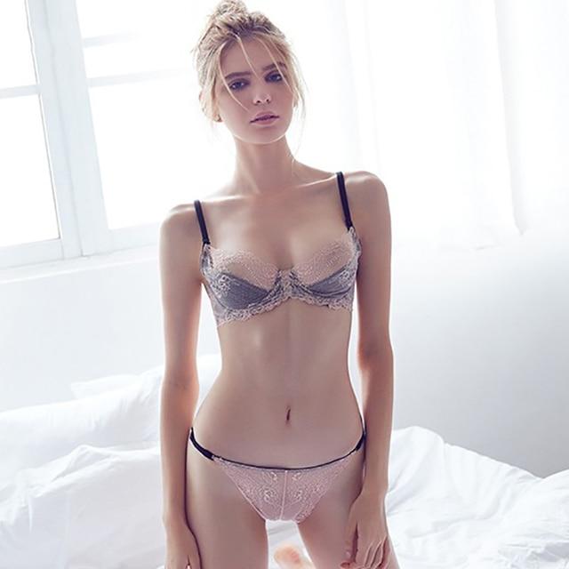 bfdc8fb680e4 € 10.62 38% de DESCUENTO Aliexpress.com: Comprar Conjunto de sujetador  bordado de encaje para mujer ropa interior Sexy Lencería transparente ...