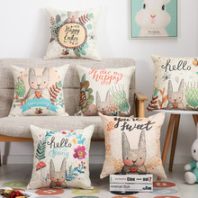 Printed Cute Rabbit Happy Sweet Cushion Cover Cotton Linen Decorative Throw Pillow Cover Seat Sofa Embrace Pillow Case Home цена в Москве и Питере