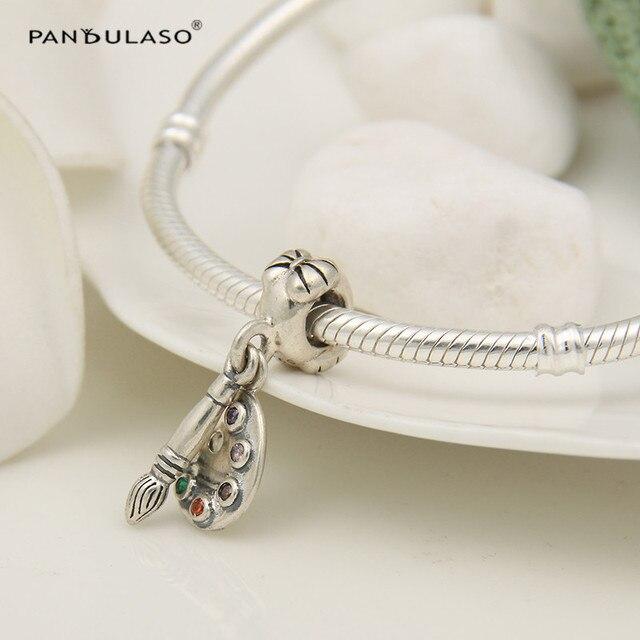 Pandulaso 925-Sterling-Silver perline Artist Palette Ciondola I Fascini con Colorful Cz Per Le Donne Bracciali Gioielli FAI DA TE Che Fanno LW366