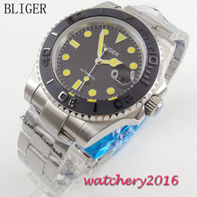 40mm Bliger black Dial ceramic bezel Date Adjust Luminous Yellow Marks Miyota Sapphire Glass Automatic Movement Men's Watch