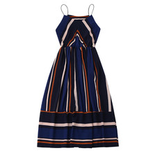 Kenancy Hot Women Bohemian Dresses Striped Vintage Maxi Dress Female Sleeveless Summer Beach Long Boho Dresses Feminino Vestidos(China)