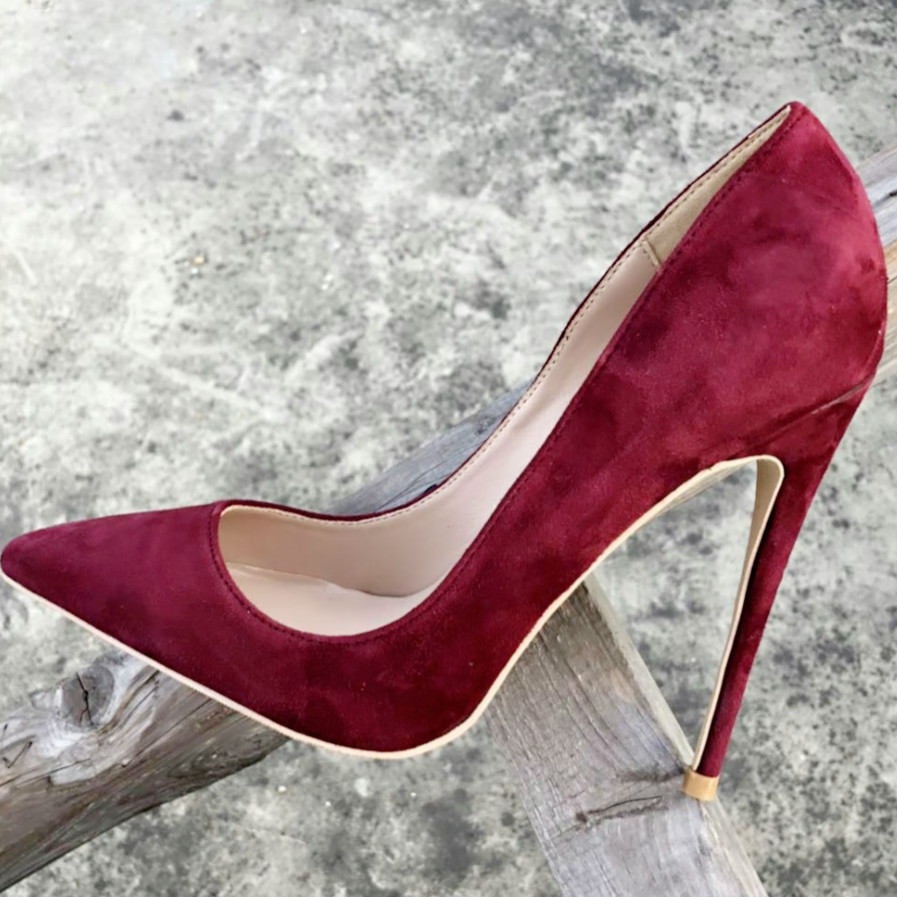 Keshangjia Women Pumps Fashion Pointed Toe High Heels Basic style Dress Pump Dark Red Color Women