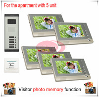 Five 5 Units Apartment Building Color Video Intercom Video Door Phone Visitor Photo Memory Also Support