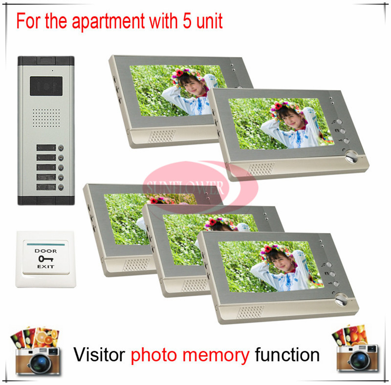 Five 5 Units Apartment Building Color Video Intercom/video door phone Visitor Photo Memory ( Also support SD card photo storage) my apartment