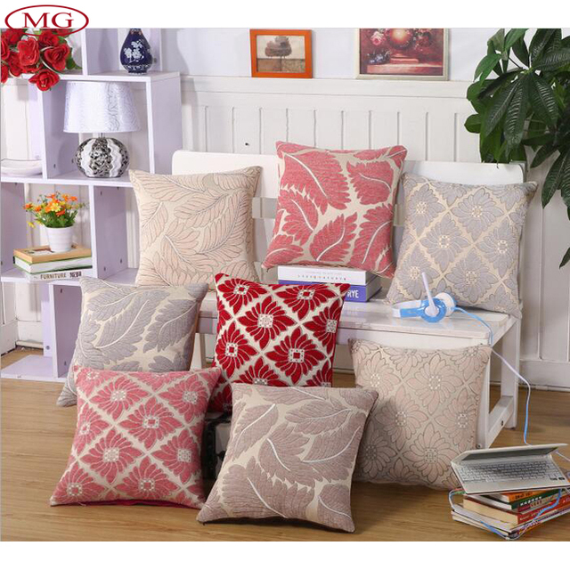Perfect 43*43cm Square Leaf Pattern Cushion Cover 2016 New Design European Style  Sofa Pillow Case