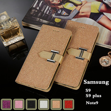 For Samsung Galaxy S9 Plus Case Luxury Bling Wallet Leather note 9 Pu Solid Color Card Slot Stander Shining Cas