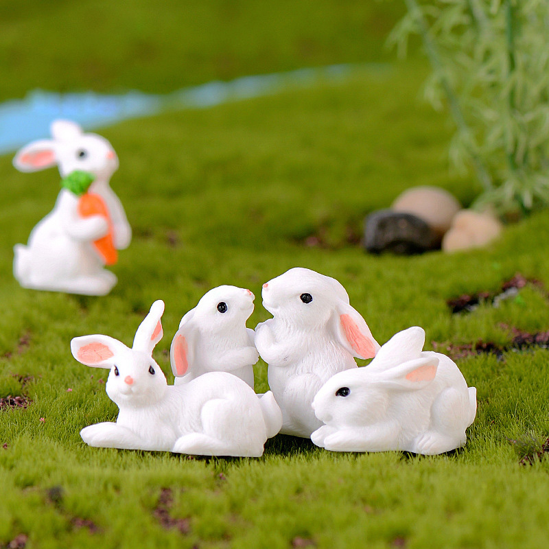 Easter Love White Rabbit Figures Funny Animal Model Miniature Figurines Fairy home Garden Wedding Doll Decoration Girl toy gift 2