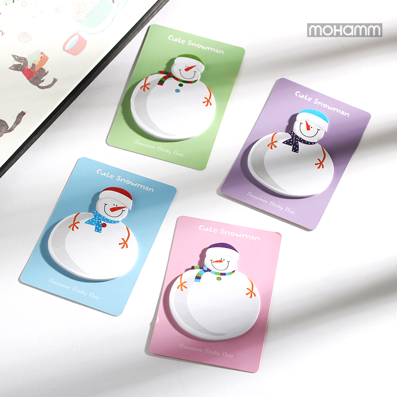 2 Pcs/lot Cute Kawaii Korean Snowman Christmas Gift Planner Stickers Sticky Notes Memo Pad Office And School Supplies