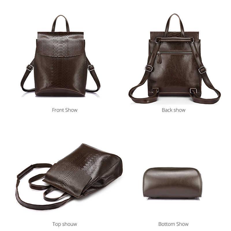 e0039285009a ... REALER бренд качественный женский рюкзак из сплит-кожи со змеиным  принтом новинка, школьный рюкзак ...