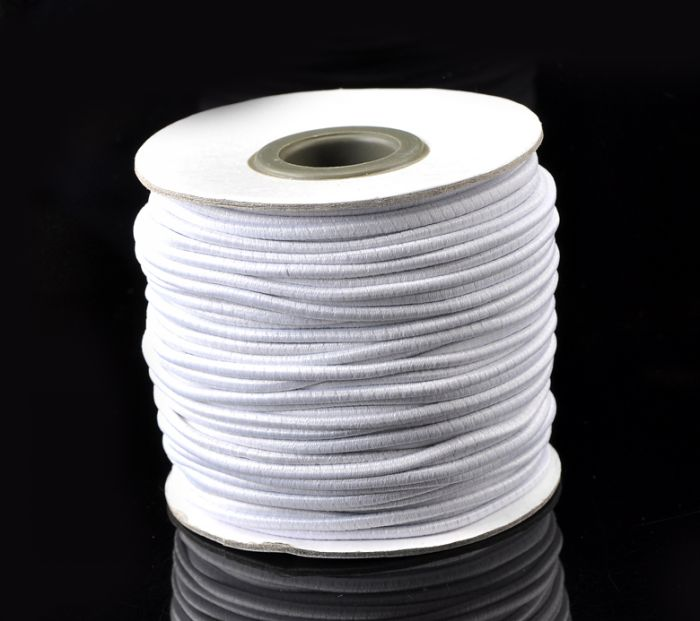 DoreenBeads Retail 1 Roll(about 40M)White <font><b>Elastic</b></font> Cotton Covered Latex Thread <font><b>Cord</b></font> <font><b>2mm</b></font> image