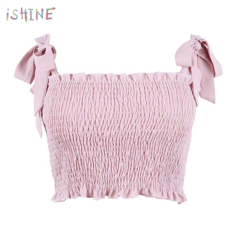 2018 Summer Tube   top   Women Sexy Bustier Tees Feamle Strap Ruched   Tank     Tops   Elastic Camis Crop   Top   Streatwear