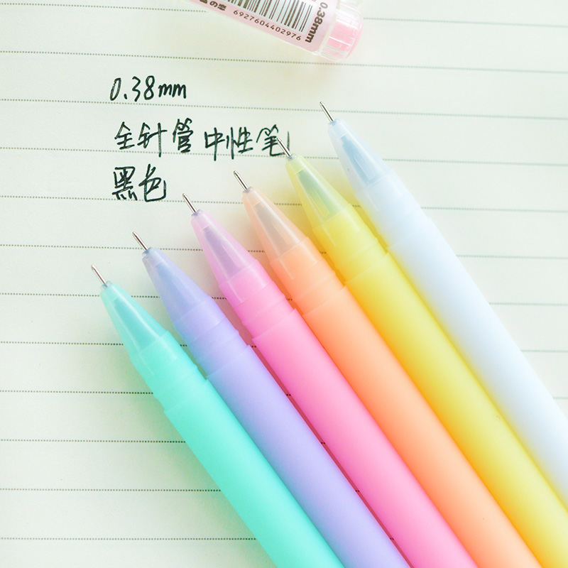 6 pcs lot jelly gel ink pen crystal love 0 38mm black lapices pens canetas stationery