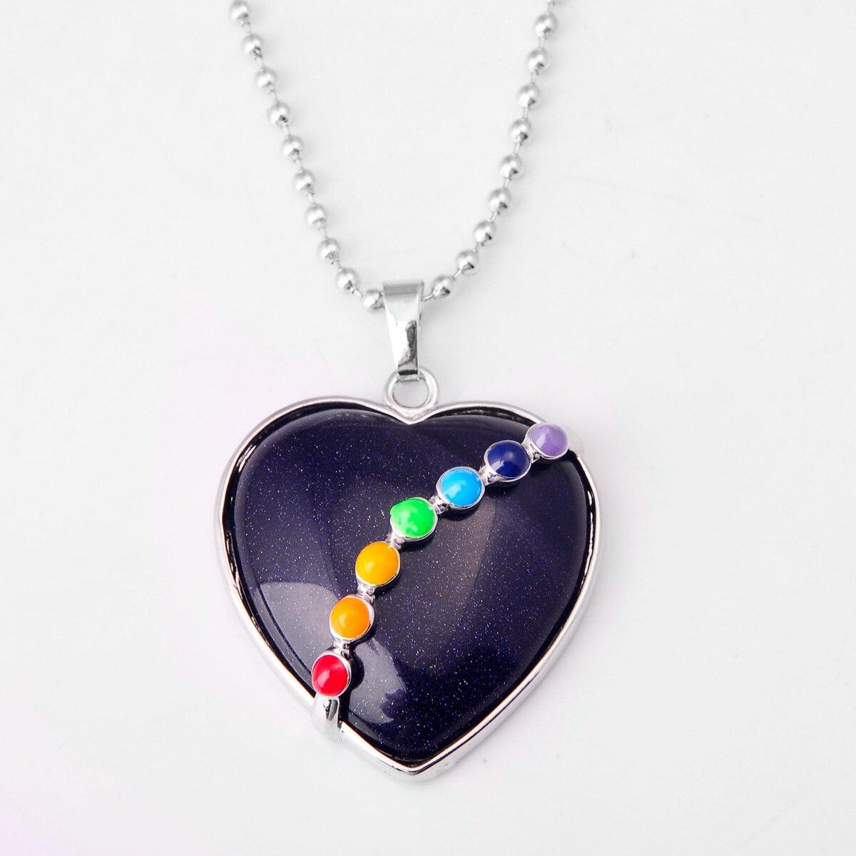 ASHMITA малахитовое сердце из кабошона с 7 чакра камень кулон ожерелье - Окраска металла: 13