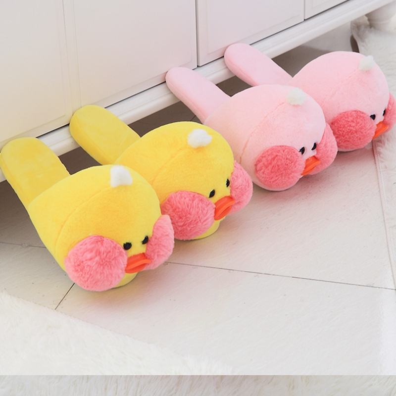 Winter Indoor Lalafanfan MIni Cafe Yellow Duck Plush Slippers Flat Furry Home Cartoon Plush Slippers Couple Animal Warm Shoes