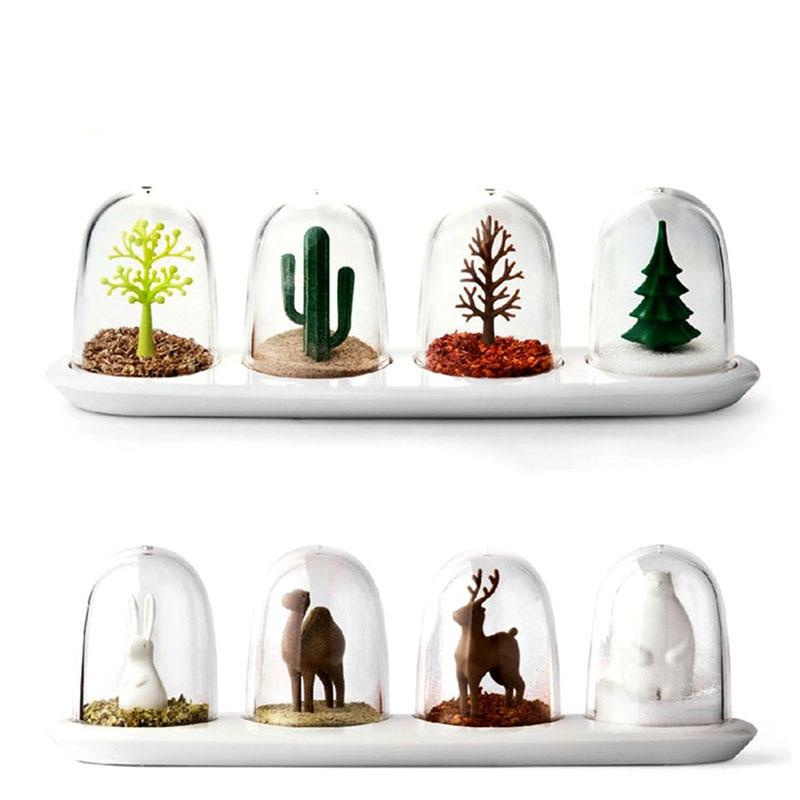 Four Seasons Plant Spice Jar 4 pcs / set Animales creativos Condimento Botella Sal Azúcar Pimienta Coctelera Herramientas de cocina Suministros