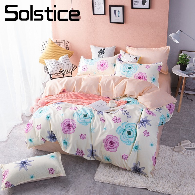 Solstice Home Textile Rose Flower Girls Bedding Sets Double Queen Twin Size Kid Teens Bedlinen Duvet Cover Pillowcases Bed Sheet