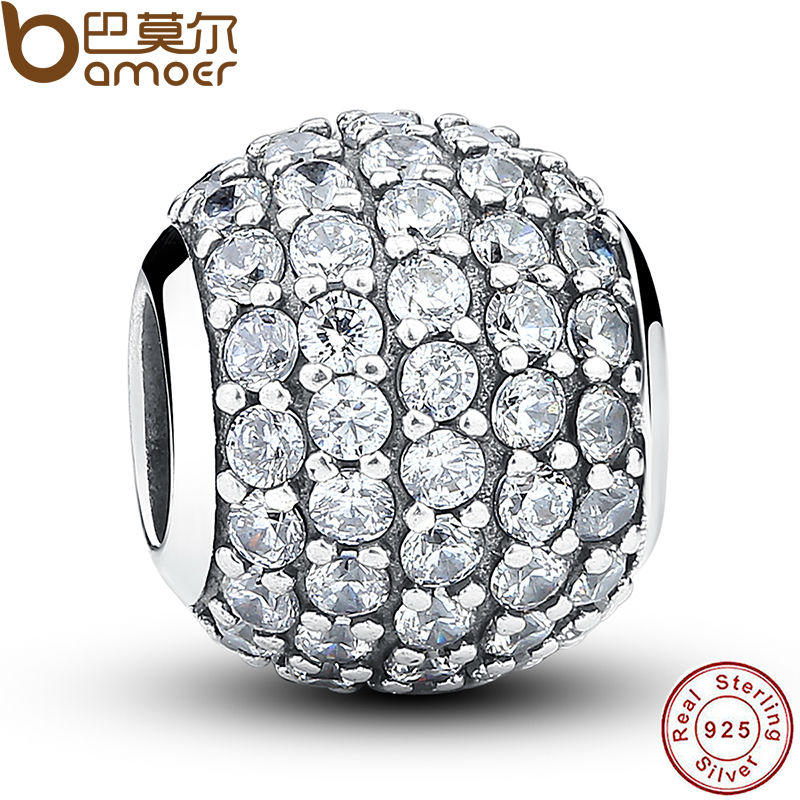 925 Sterling Silver Pave Czech Bead Ball Charm Fit