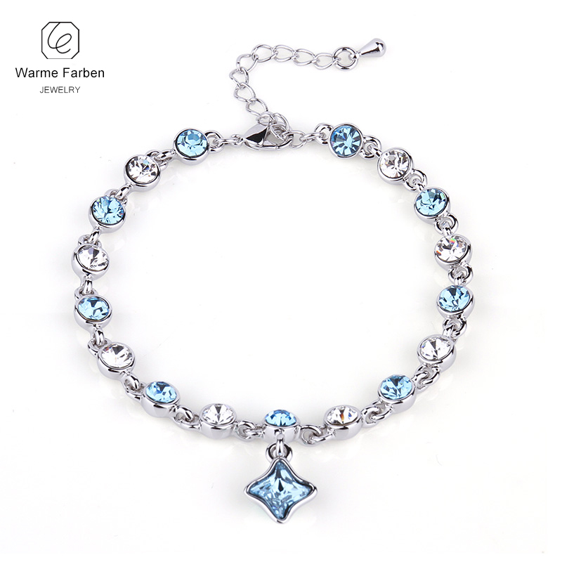 WARME FARBEN Crystal from Swarovski Women Bracelets Four-leaf Clover Pendant Link Chain Bracelet Fine Jewelry Gift for Lady delicate rhinestone leaf link chain hair band for women