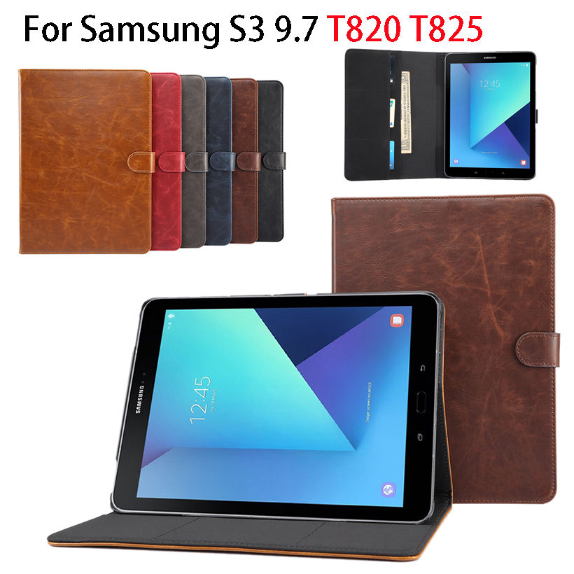 Luxury business PU Leather Case For Samsung Galaxy Tab S3 9.7 T820 T825 Cover Funda Tablet Crazy Horse pattern Stand shell skin sm t525 case luxury crazy horse pattern pu leather stand cover case for samsung galaxy tab pro 10 1 t520 t521 t525 tablet pc