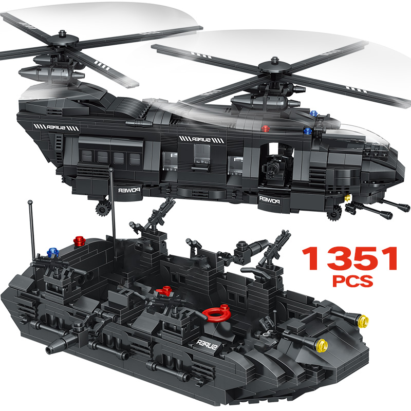 New Building Blocks Compatible Swat Team City Police Transport Helicopter Large Sets Bricks Gift Toys For