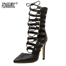 Venta superior de La Manera de primavera y verano zapatos de punta fina correa cruzada hueco Roma estilo sexy tacones delgados discoteca bombas venta caliente
