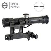 SPINA OPTICS Tactical Hunting Scope SVD 4x20 SVD Dragunov Optics Sight Red Illuminated Rifle Scope Airsoft Sniper Gear