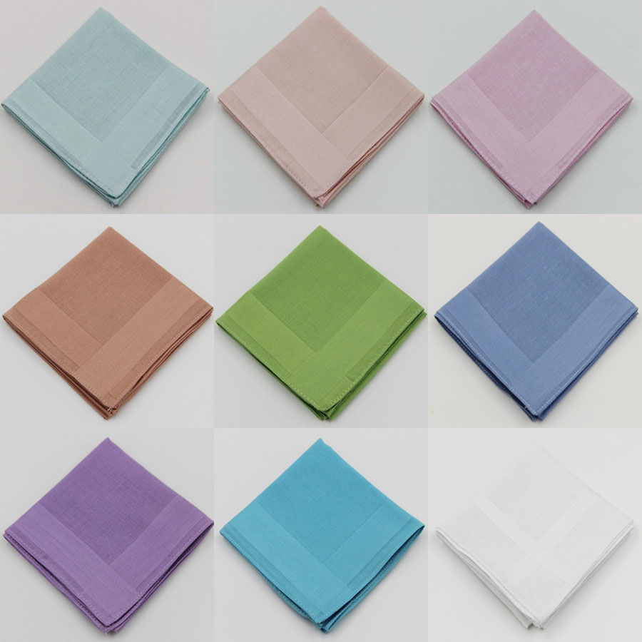 3 Pieces/lot 100% Cotton Handkerchiefs Classic Solid Color Handkerchief 9 Items