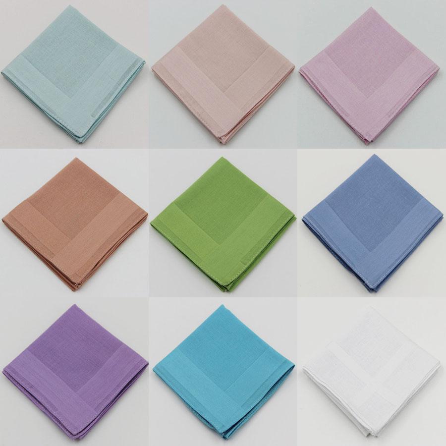 3 Pieces/lot 100% Cotton Handkerchiefs Classic Solid Color Handkerchief 9 Items
