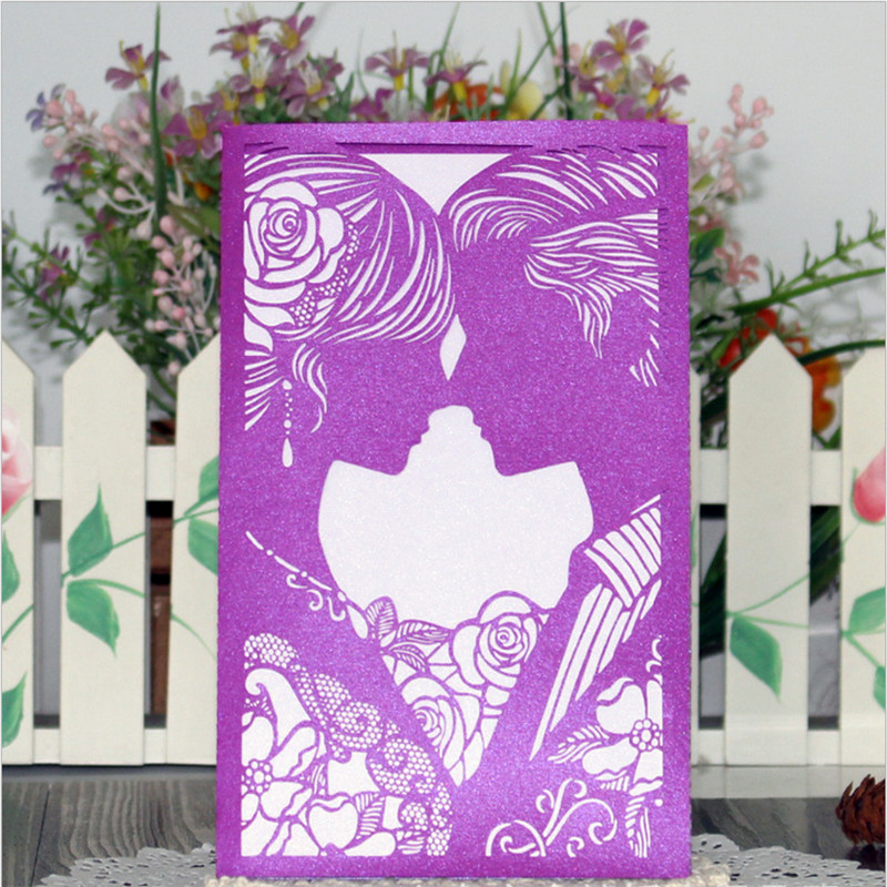 N30pcs Laser Cut Kissing Couples Wedding Invitations Cards Birthday