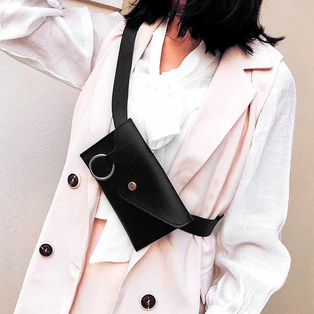 ファニーパック女性ベルトバッグ革ウエストバッグファッション女性の純粋な色のリング PU メッセンジャーショルダー胸 pochete homem #2