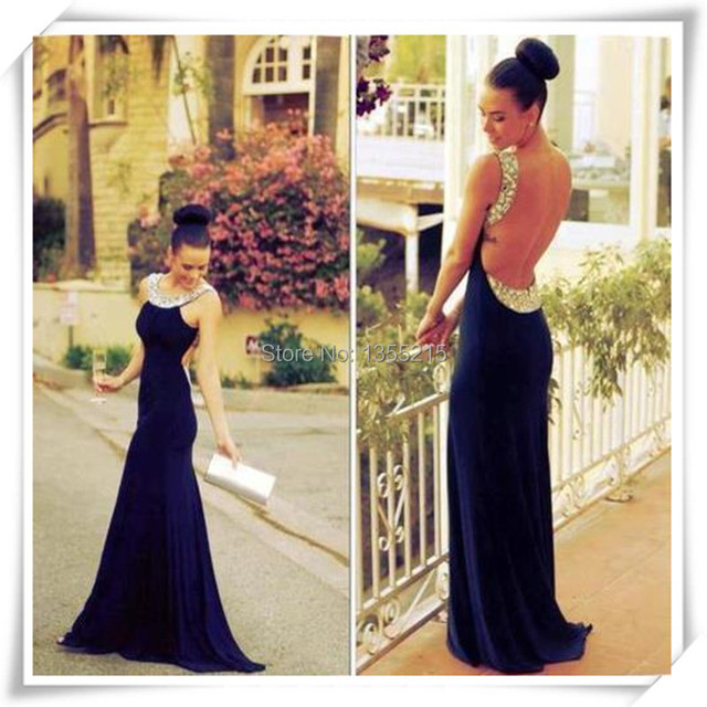 Custom Navy Blue Crystal Long Dress With Open Back Sexy Prom Dresses
