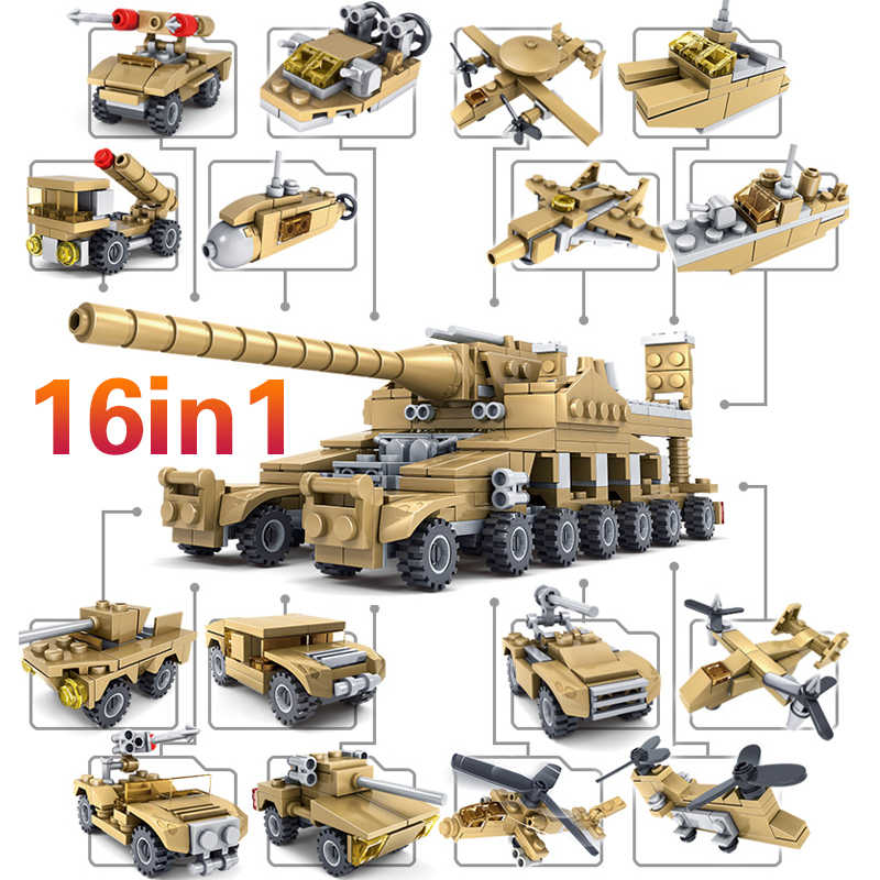 KAZI 16 in 1 Army Cannon Tank 544pcs Military 2 in 1 Missile Vehicle Boat Weapon Building Blocks Brick DIY Toys For kids gifts