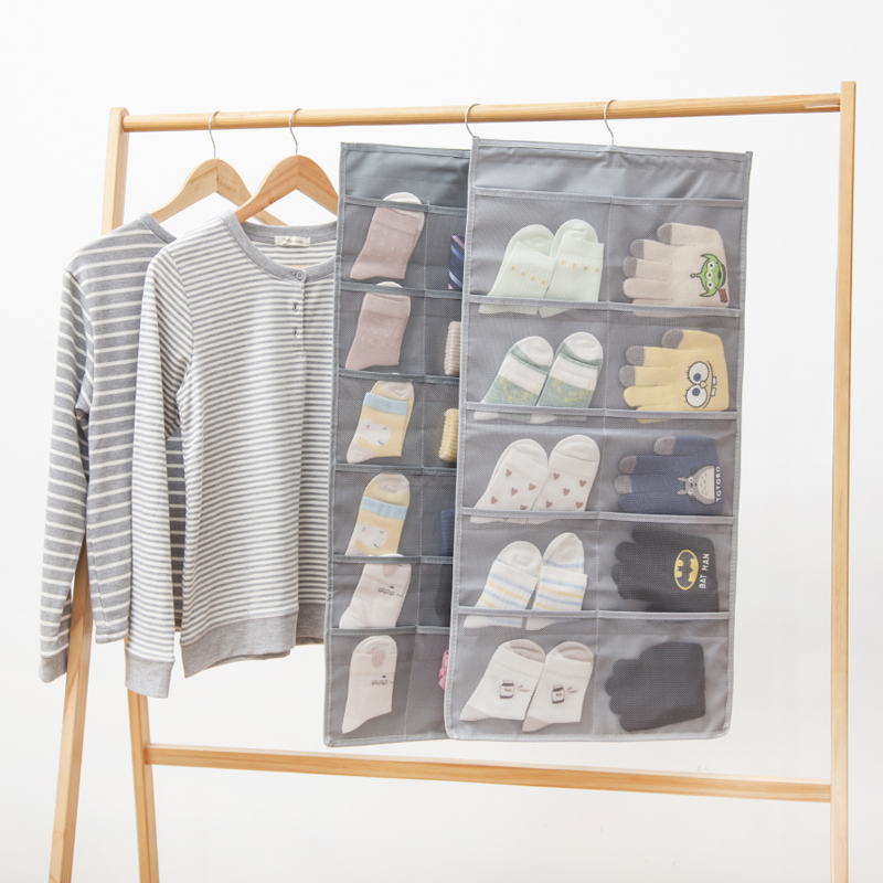 Oxford Cloth Hanging Storage Bag Double Sided Wardrobe Closet Organizer For Underwears Socks Bags Bedroom Home
