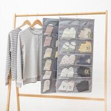 Подвеска из ткани Оксфорд сумка для хранения двухсторонний органайзер для шкафа, гардероба для нижнего белья мешки для носков спальни дома Висячие карманы
