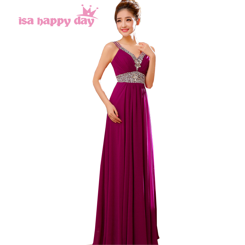 Sleeveless Chiffon Back Simple Full Length Party Dress With Straps A-line V Neck Womens Long Dresses For Bride For Party B1700