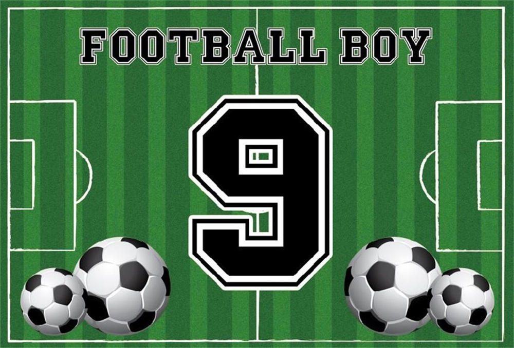 Laeacco Football Game Boy 9th Birthday Party Portrait Wall Photography Backgrounds Scene Photographic For Photo Studio Backdrops in Background from Consumer Electronics