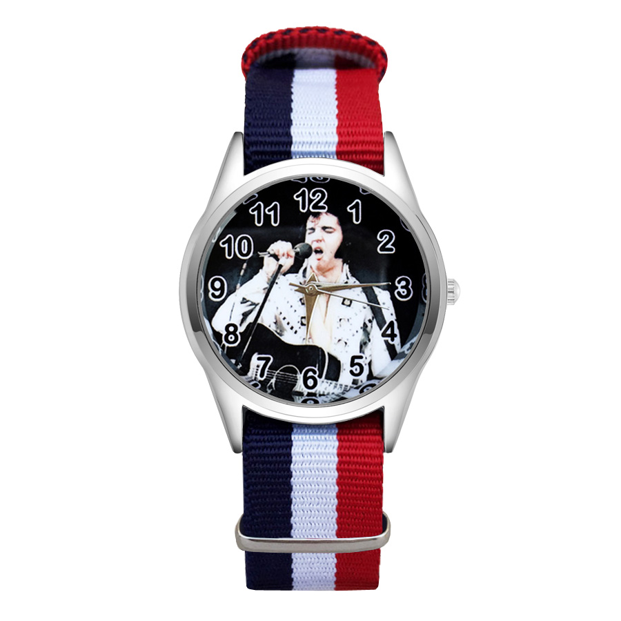 Fashion Cartoon Elvis style Watches Women's Girls Students Boy's Children Nylon Strap Quartz Wrist Watch JC66