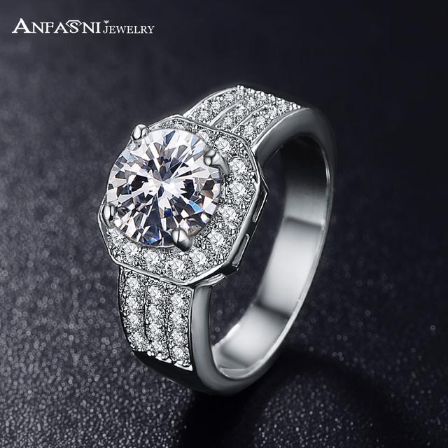 ANFASNI Fashion Jewelry Queen Rings Silver/ Rose Golden Color Micro Pave Clear A