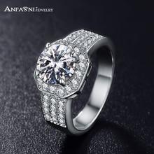 Anfasni joyería de moda reina Anillos plata/Rosa oro color micro pavimentar claro AAA cúbicos ZIRCON anillo clásico para las mujeres cri0015
