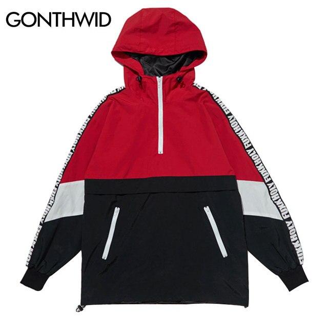 Gonthwid лоскутное Цвет блок пуловер куртка с капюшоном осень 2017 г. на молнии спортивный костюм повседневная куртка Пальто для будущих мам хип-хоп мужской уличной