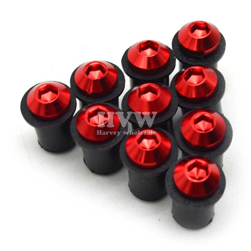 10pcs 5mm Motorcycle CNC Windscreen Windshield Bolts Screw Kit for aprilia CAPANORD 1200/Rally BMW F650GS RSV MILLE / R FALCO