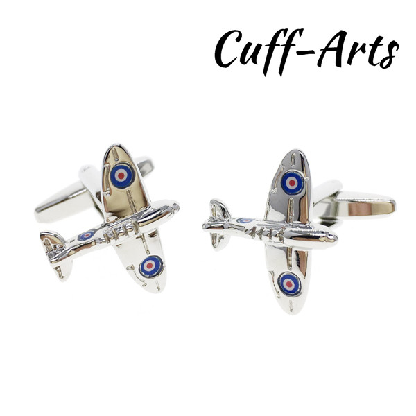 Cuffarts Spitfire Plane Aeroplane Aircraft RAF Cufflinks Gentleman 2018 Men  Gifts Novel Pins Women Dress Brooches C10155