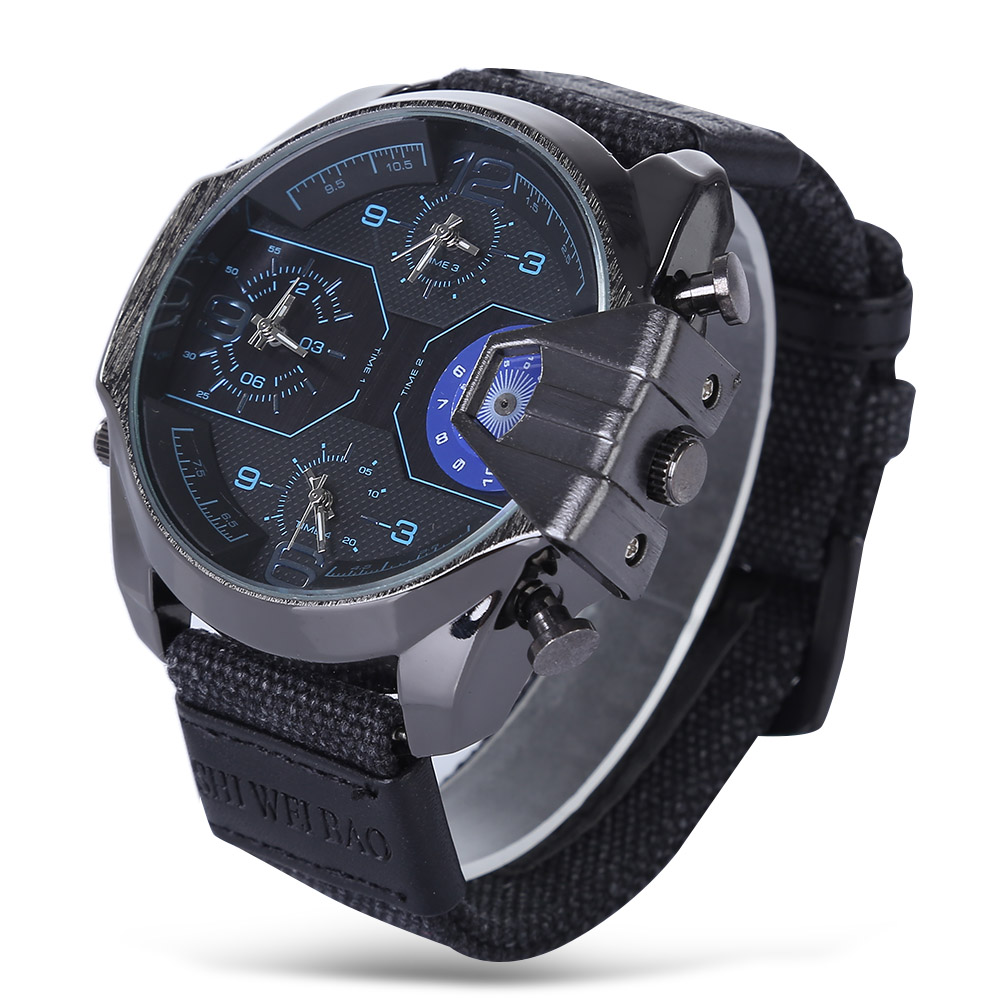 Luxury Watch Men Famous Brand Cool Big Case Mens Quartz Watches Male Clock Man Date Canvas Watchband Military Relogio Masculino 6 colors orkina brand male nylon band date display sports quartz relojes mujer 2016 mens black case watch cool herren uhr rot