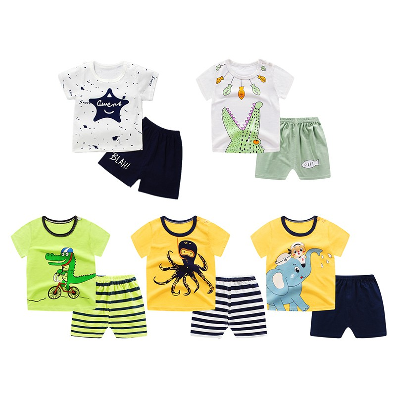 2PCS Summer Stylish Baby Boys Casual Clothes Set Infant Kids Cartoon Short-sleeved Top+S ...