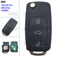 WALKLEE 3BT Chave Remota 434 MHz Apto para SEAT Altea/Leon/Toledo 1K0959753 HLO 1K0 959 753 1KO 434 MHz ID48 Chip