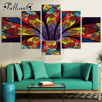 FULLCANG diy full square/round drill 5 panel diamond painting abstract colorful flower 3d mazayka embroidery sale set FC1140