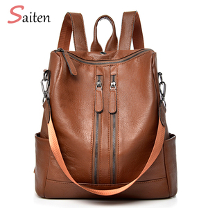 Saiten 2018 New PU Leather Women Backpack Casual School Backpack For Teenager Girl Large Capacity Multifunction Backpack Mochil(China)
