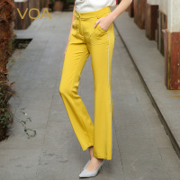 VOA 2018 Spring Summer Yellow Plus Size Legging Pants Solid Brief School Flare Pants Fashion Heavy Silk Casual Trouser K7550